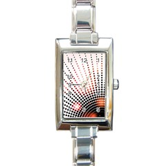 Radial Dotted Lights Rectangle Italian Charm Watch