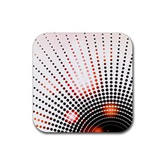 Radial Dotted Lights Rubber Square Coaster (4 pack)