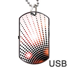Radial Dotted Lights Dog Tag USB Flash (One Side)