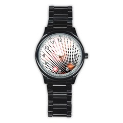Radial Dotted Lights Stainless Steel Round Watch