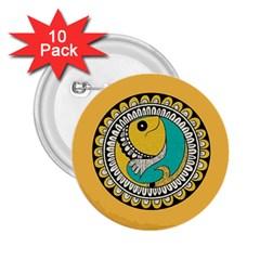 Madhubani Fish Indian Ethnic Pattern 2.25  Buttons (10 pack)