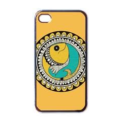 Madhubani Fish Indian Ethnic Pattern Apple iPhone 4 Case (Black)
