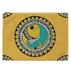 Madhubani Fish Indian Ethnic Pattern Cosmetic Bag (XXL)