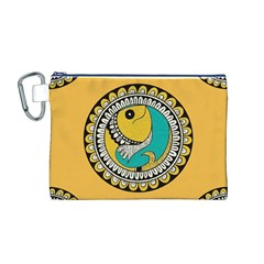 Madhubani Fish Indian Ethnic Pattern Canvas Cosmetic Bag (M)
