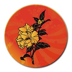 Vector Asian Flowers Round Mousepads