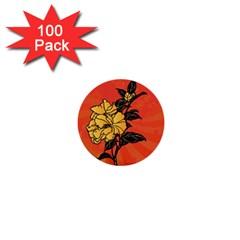 Vector Asian Flowers 1  Mini Buttons (100 pack)