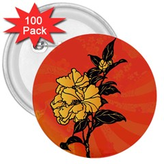 Vector Asian Flowers 3  Buttons (100 pack)