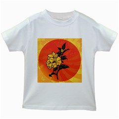 Vector Asian Flowers Kids White T-Shirts