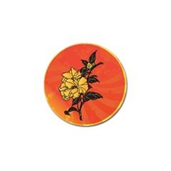 Vector Asian Flowers Golf Ball Marker