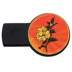 Vector Asian Flowers USB Flash Drive Round (1 GB)
