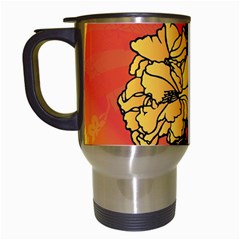 Vector Asian Flowers Travel Mugs (White)