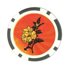 Vector Asian Flowers Poker Chip Card Guard (10 pack)