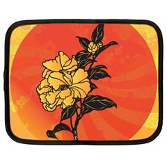 Vector Asian Flowers Netbook Case (XL)