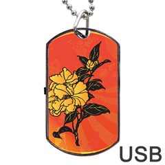 Vector Asian Flowers Dog Tag USB Flash (Two Sides)