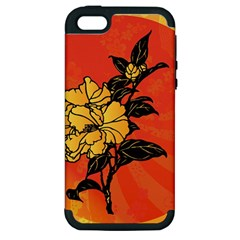 Vector Asian Flowers Apple iPhone 5 Hardshell Case (PC+Silicone)