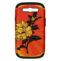 Vector Asian Flowers Samsung Galaxy S III Hardshell Case (PC+Silicone)