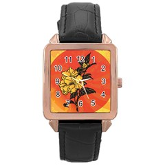 Vector Asian Flowers Rose Gold Leather Watch