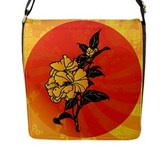 Vector Asian Flowers Flap Messenger Bag (L)
