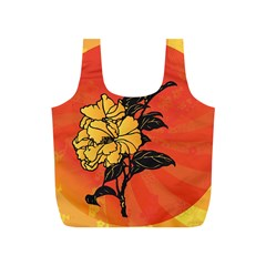 Vector Asian Flowers Full Print Recycle Bags (S)