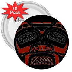 Traditional Northwest Coast Native Art 3  Buttons (10 pack)