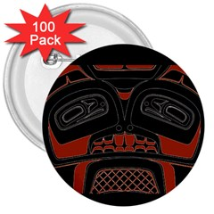 Traditional Northwest Coast Native Art 3  Buttons (100 pack)
