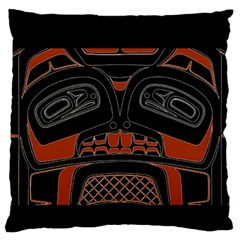 Traditional Northwest Coast Native Art Large Flano Cushion Case (One Side)