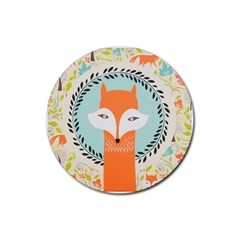Foxy Fox Canvas Art Print Traditional Rubber Coaster (Round)