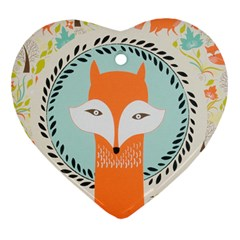 Foxy Fox Canvas Art Print Traditional Heart Ornament (Two Sides)