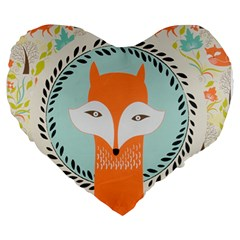 Foxy Fox Canvas Art Print Traditional Large 19  Premium Heart Shape Cushions
