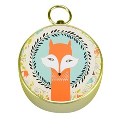 Foxy Fox Canvas Art Print Traditional Gold Compasses