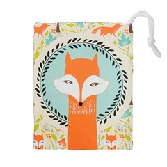 Foxy Fox Canvas Art Print Traditional Drawstring Pouches (Extra Large)