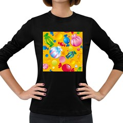 Sweets And Sugar Candies Vector  Women s Long Sleeve Dark T-Shirts