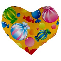 Sweets And Sugar Candies Vector  Large 19  Premium Heart Shape Cushions