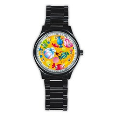 Sweets And Sugar Candies Vector  Stainless Steel Round Watch