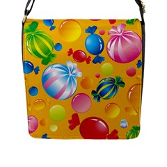 Sweets And Sugar Candies Vector  Flap Messenger Bag (L)