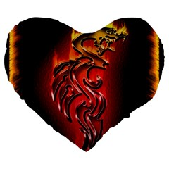 Dragon Fire Large 19  Premium Heart Shape Cushions