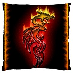 Dragon Fire Large Flano Cushion Case (One Side)
