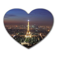 Paris At Night Heart Mousepads