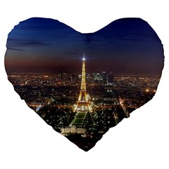 Paris At Night Large 19  Premium Heart Shape Cushions