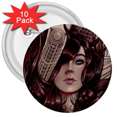 Beautiful Women Fantasy Art 3  Buttons (10 pack)
