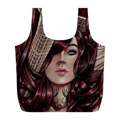Beautiful Women Fantasy Art Full Print Recycle Bags (L)