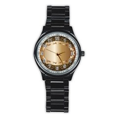 Floral Stainless Steel Round Watch