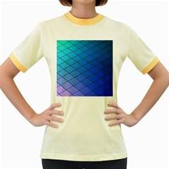 Blue Pattern Plain Cartoon Women s Fitted Ringer T-Shirts