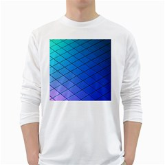 Blue Pattern Plain Cartoon White Long Sleeve T-Shirts
