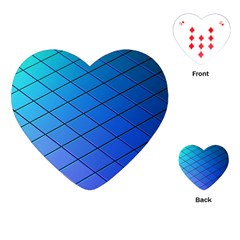 Blue Pattern Plain Cartoon Playing Cards (Heart)