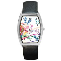 Butterfly Vector Art Barrel Style Metal Watch