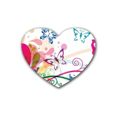 Butterfly Vector Art Rubber Coaster (Heart)