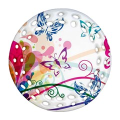 Butterfly Vector Art Round Filigree Ornament (Two Sides)