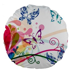 Butterfly Vector Art Large 18  Premium Round Cushions