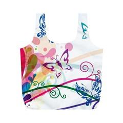 Butterfly Vector Art Full Print Recycle Bags (M)